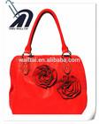 Rose flower fashion red pu leather lady handbag