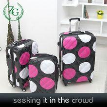 Fashion Big Polka Dot Printed Hard Shell PC Luggage for girls