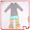 Cheap China Wholesale Kids Designer Solid Cotton Long Sleeve T-shirt And Colorful Chevron Pant Branded Kids Clothing Factory