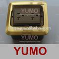 Yumo- 1f 2 manera nosotros piso zócalo del piso de cobre caja de salida tomas de corriente universal