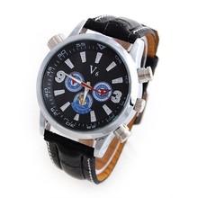 V6 Men's Quartz Watches Steel Case Military Watches Analog Sports Watches PU Strap