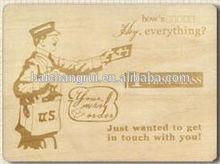 Wood Postcard - Friends Greeting - Laser Engraving Service