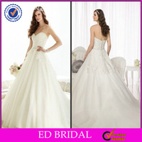 New Fashion Style Ball Gown Strapless Sweetheart Lace Appliqued Beaded Wedding Kaftan Dress