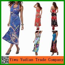 las mujeres de verano maxi vestido largo vestido de hawaiano para las mujeres
