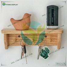 Shelf wood Oak hooks 5 pegs display shelf wall hanging shelf hand made finished YM4242W