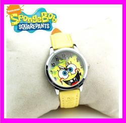 JC3214 Trendy lovely SpongeBob wrist watch for kids, yellow watch for children