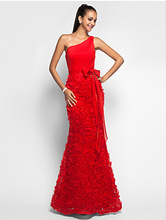 Trumpet/Mermaid One Shoulder Floor-length Chiffon And Lace Evening/Prom Dress