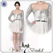 JJ3710 Vintage Long Sleeve elegant lace tea length wedding dresses long sleeves