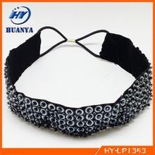 western fashion sequin headband, beaded hair band wide hair jewel