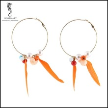 American festival celebration gift fashion long cute feather earring with alloy