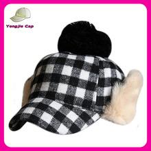 fashion russia warm 100% wool winter plaid baseball cap with ear muff