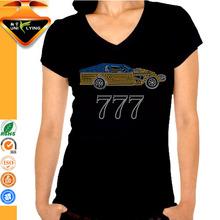 Rhinestone Heat Transferred Black Tshirt Cotton And Spandex