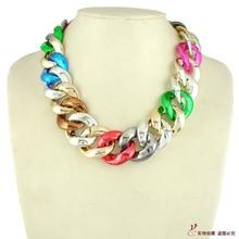 Exaggerate Fashion Colours Metallic CCB Plastic Short Necklaces