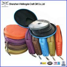 Factory Hot Sell Handmade Fashion canvas round zipper cd jewel case