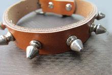 uur9219 brown spiked studs genuine leather dog belt collar. custom leather belt for dog