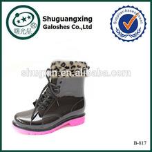 ladies winter black&pink warm rain boots|B-817