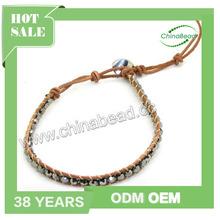 Hot woven friendship bracelets,bead wrap bracelet,Silver crystal bead wrap with leather cord bracelet in 270mm