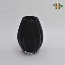 Colored pumpkin shaped glass vase, round wave home use glassware