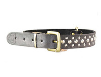 bgt9206 designer studs black genuine leather dog collar belt maker