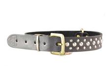 bgt9206 designer studs black genuine leather dog collar belt maker