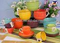Pintado a mano de cerámica de gres taza de sopa/taza de café y platillos con venta al por mayor