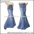 Mulheres long jean saias azul saias jeans longas saias jeans longas