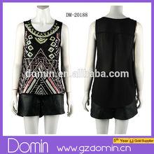 2014 New custom clothing Sequin blouse ladies blouses & tops women's neck design