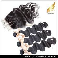Top Quality 3 Part Closure Brazilian Virgin Hair Lace Closure with Bundles