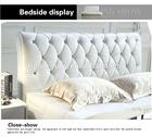 Foshan 2014 cristal headboard genuine leather soft bed 9856