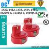 makita 14.4v battery makita 14.4v ni-cd/ni-mh batteries 1420/1422/192600-1/193985-8,supporting fast charging