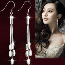 long chandelier dangle silver drop earring