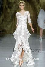MZ-152 Hot Sale Most Beautiful Lace Wedding Dress Patterns Front Short And Long Back Wedding Dress 2015