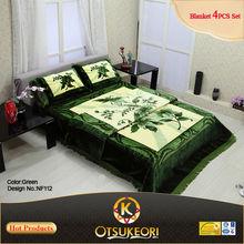 Mink Blanket bed sheet Set of 100% Polyester Korean Raschel Style