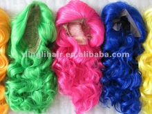 New kanekalon material hot pink two tone color cosplay wigs