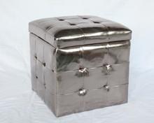 Tufted Storage Ottoman,Stool Storage Box,Black Ottoman