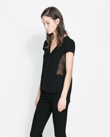 New style women fashion blouse design/wholesale V neck ladies smart casual blouse