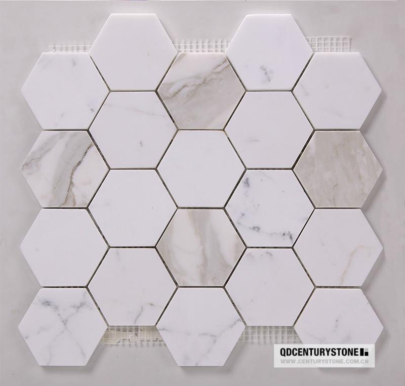 3 calacatta hexagone blanc marbre dosseret de cuisine design tuile mosa que id du produit - Marbre blanc calacatta ...