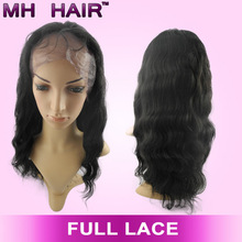 Stock!Peruvian Virgin Hair Human Hair Front lace wig with Bleached Knots permanent wigs/Glueless cheap indian remy full lace wig