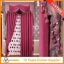 Turkey style beaded valance polyester cotton plain dyed salon decorating curtain