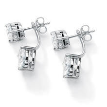 new design round zircon platinum 2-in-1 stud and drop ball earrings (E108861)