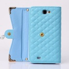 Fashion 3 folding wallet leather case Rhinestone crystal flower handbag for Samsung Note 2 . stand wallet case for Note 2