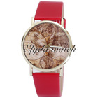 Charming women watch world map watch customized leather watch for ladies