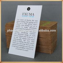 texture paper hang tag garment tag custom silk screen printing information card black eyelet swing tags