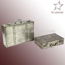 FD-VS2343 Vintage aluminum metal suitcase for large size storage