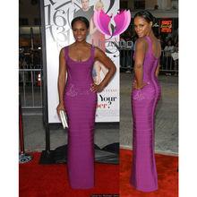 Perfect quality slim fitting girl's italian design noble purple fashion wedding long dress