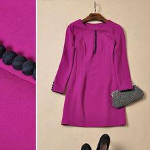 Wholesale Womens Clothings O Neck Long Sleeve Purple/Black Casual Dresses Autumn 2014
