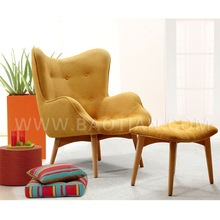 Arabic Design Modern Home and Hotel Furniture Fabric Chair with Ottoman