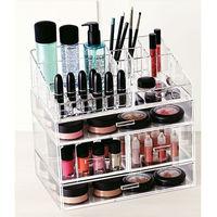 Wholesale high quality acrylic 3 tier makeup organizer