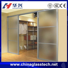 Clear or with texture aluminium frame tempered glass bedroom sliding door
