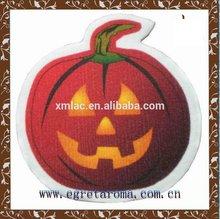 2014 custom design pumpkin shape Halloween promotion air freshener scented cards for car